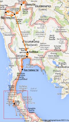 Carte Thailande