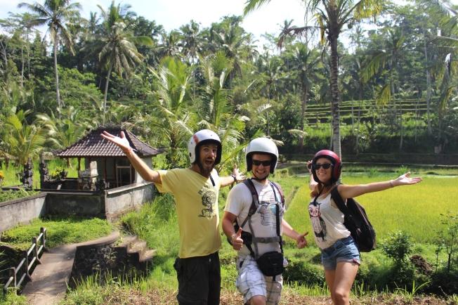 Avec Thibault dans les rizières