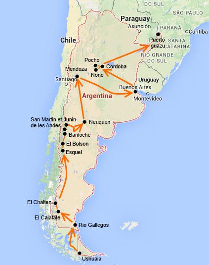 Notre itinéraire argentin
